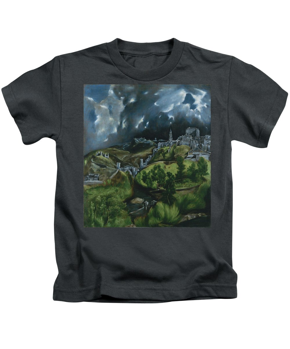 View Of Toledo Kids T-Shirt featuring the painting View Of Toledo by Domenikos