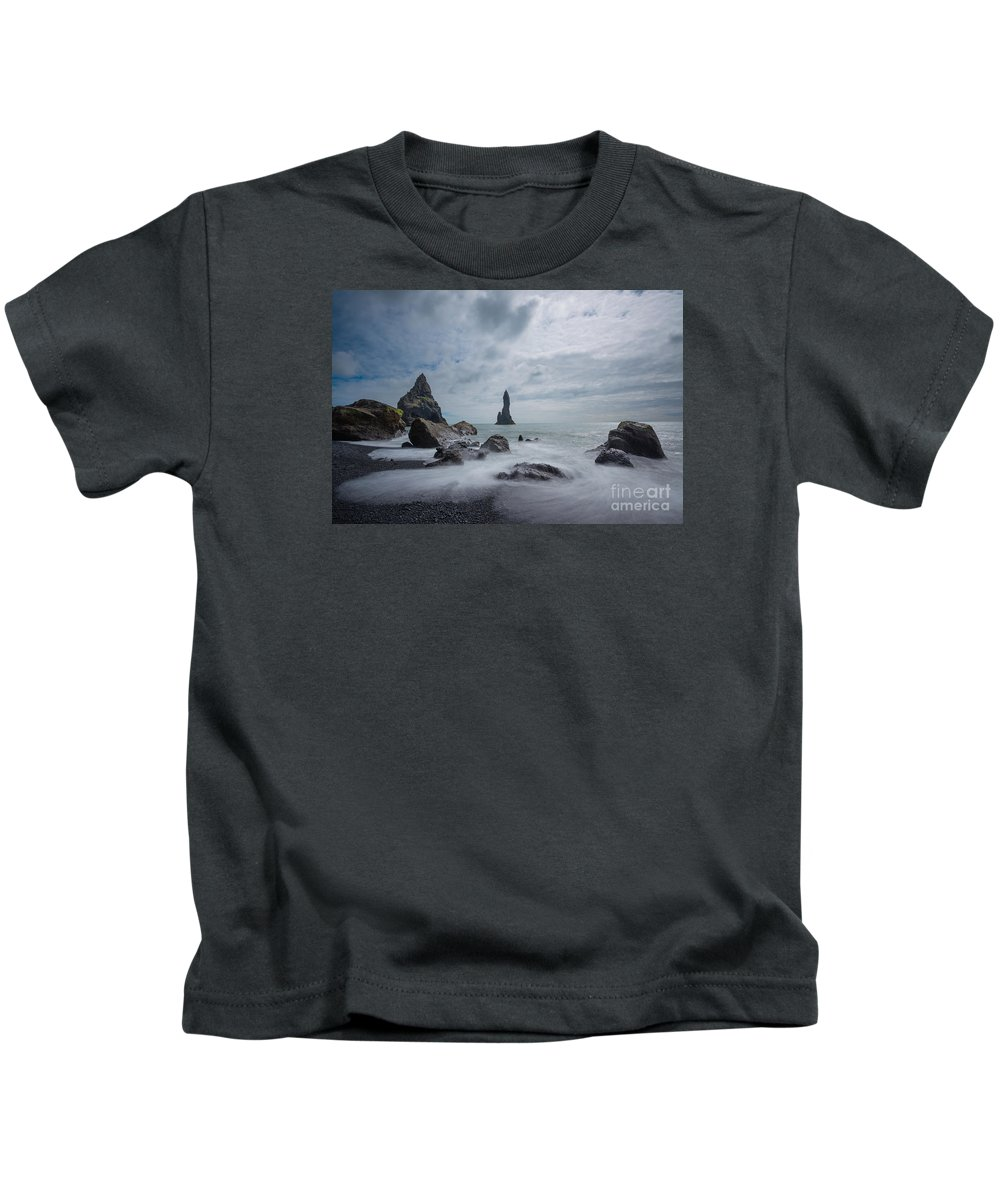 Black Sand Beach Kids T-Shirt featuring the photograph Vik Iceland by Michael Ver Sprill