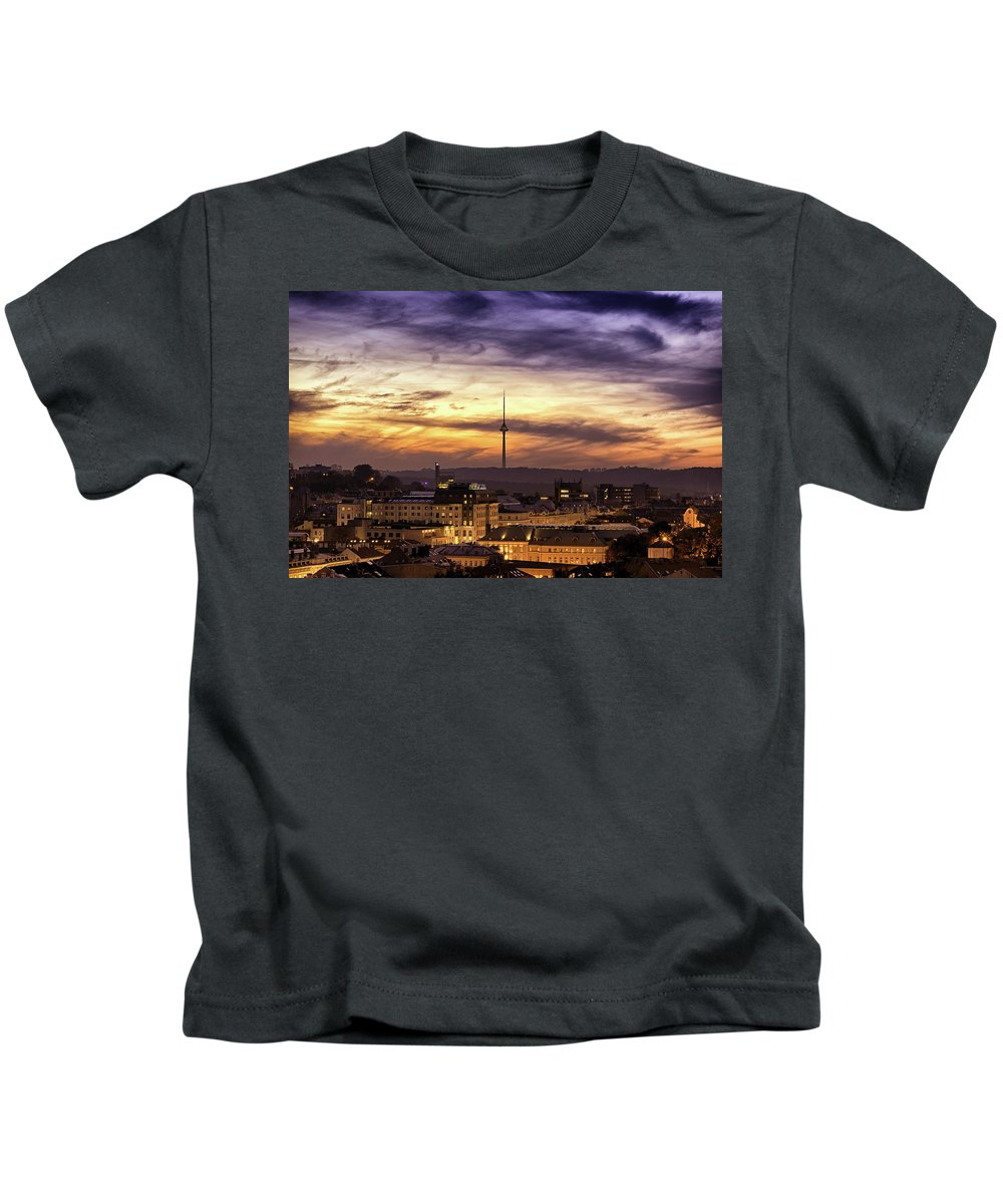 Lithuania Kids T-Shirt featuring the photograph Vilnius Tv Tower by Tomas Donauskas