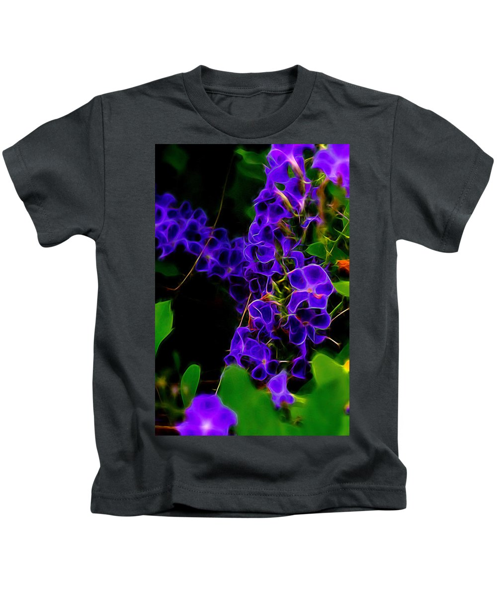 Flowers Kids T-Shirt featuring the photograph Vine Me In Purple Too by Marshall Barth