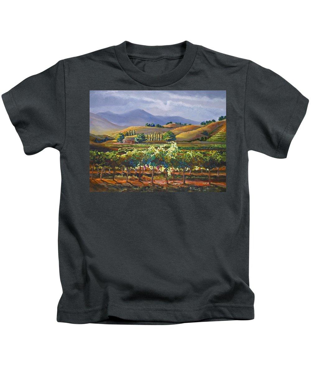 Vineyard Kids T-Shirt featuring the painting Vineyard In California by Heather Coen