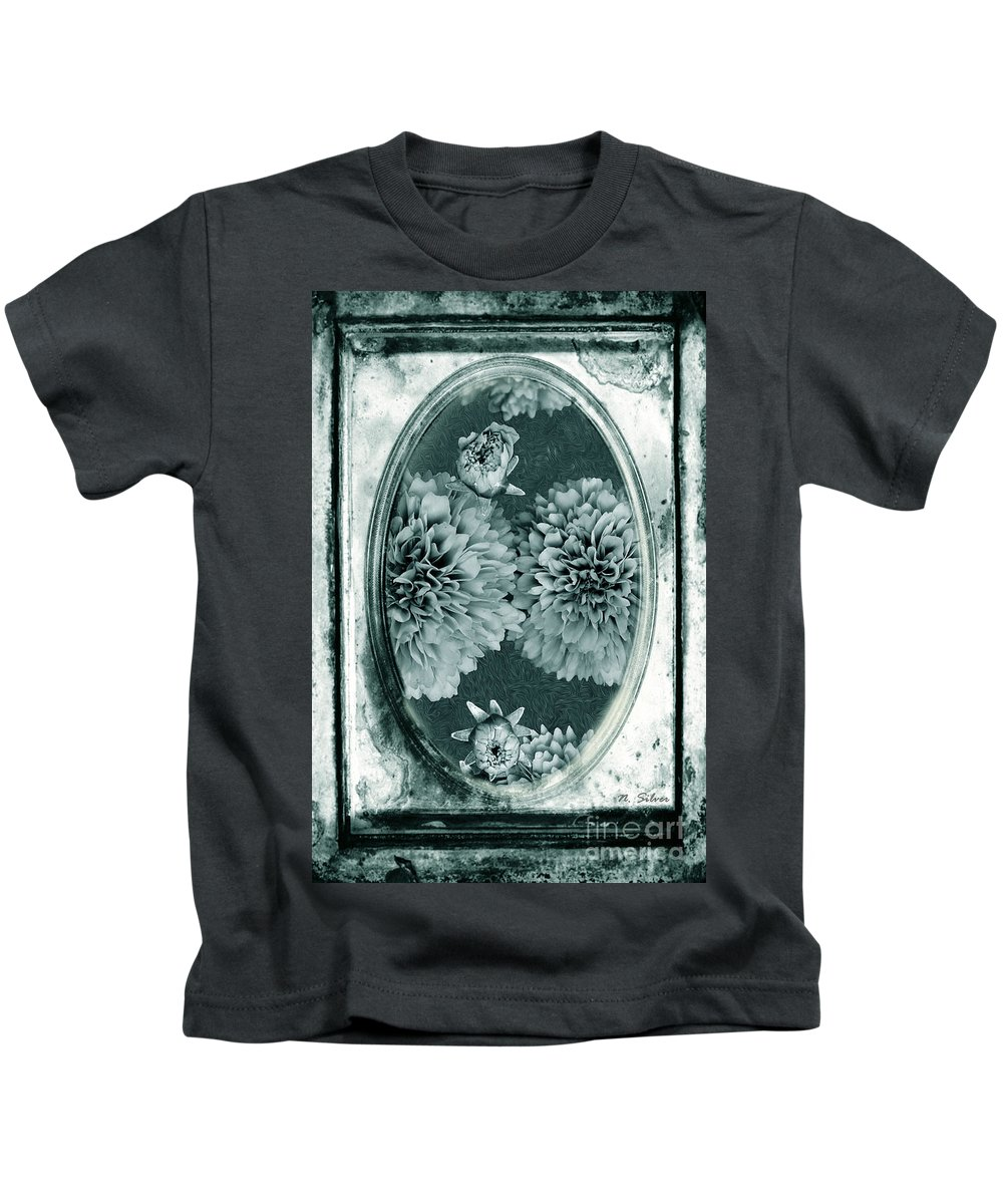 Vintage Kids T-Shirt featuring the photograph Vintage Glass Cyanoplate Dahlias by Nina Silver