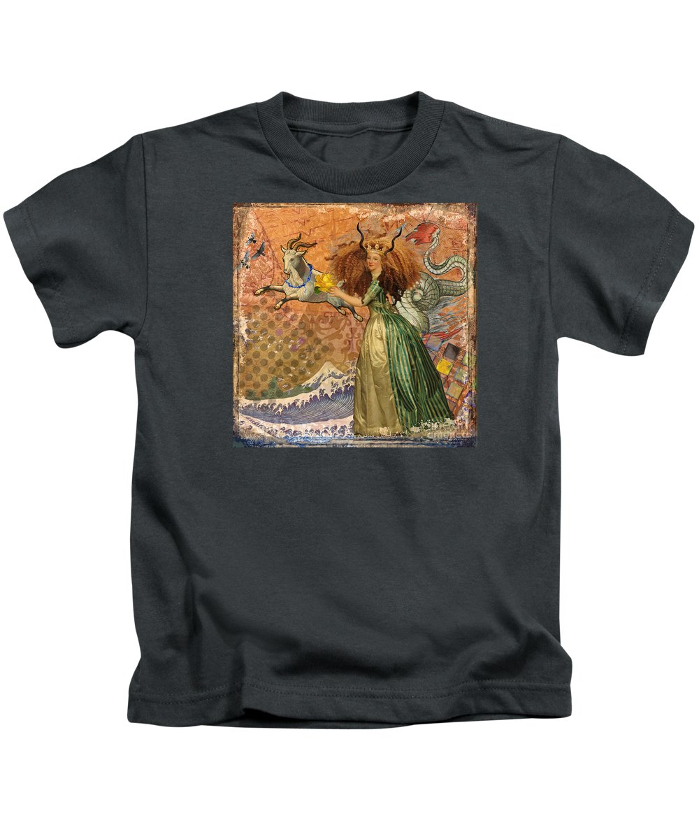 Doodlefly Kids T-Shirt featuring the digital art Vintage Golden Woman Capricorn Gothic Whimsical Collage by Mary Hubley