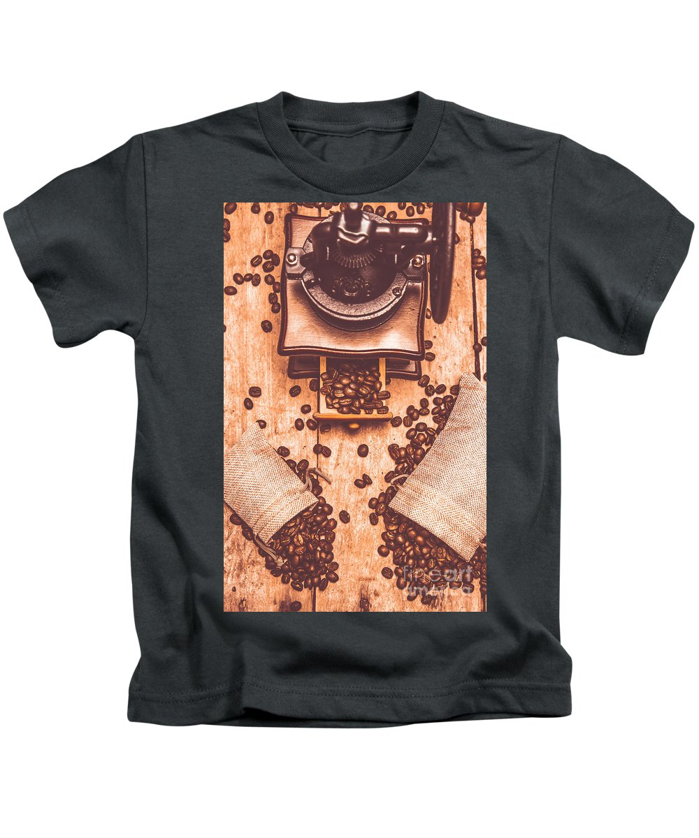 Vintage Kids T-Shirt featuring the photograph Vintage Grinder With Sacks Of Coffee Beans by Jorgo Photography - Wall Art Gallery