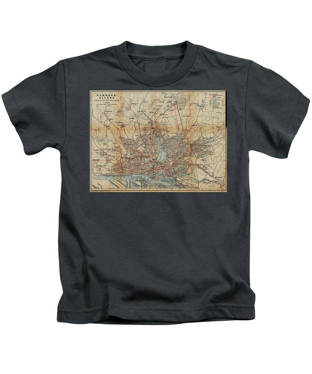 Hamburg Kids T-Shirt featuring the drawing Vintage Hamburg Railway Map - 1910 by CartographyAssociates