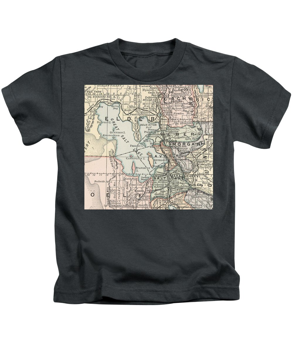 Salt Lake City Kids T-Shirt featuring the drawing Vintage Map Of Salt Lake City - 1891 by CartographyAssociates