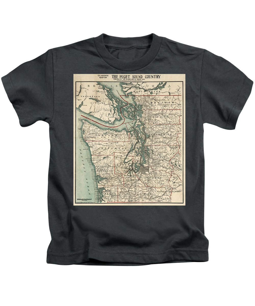 Puget Sound Kids T-Shirt featuring the drawing Vintage Map Of The Puget Sound - 1910 by CartographyAssociates