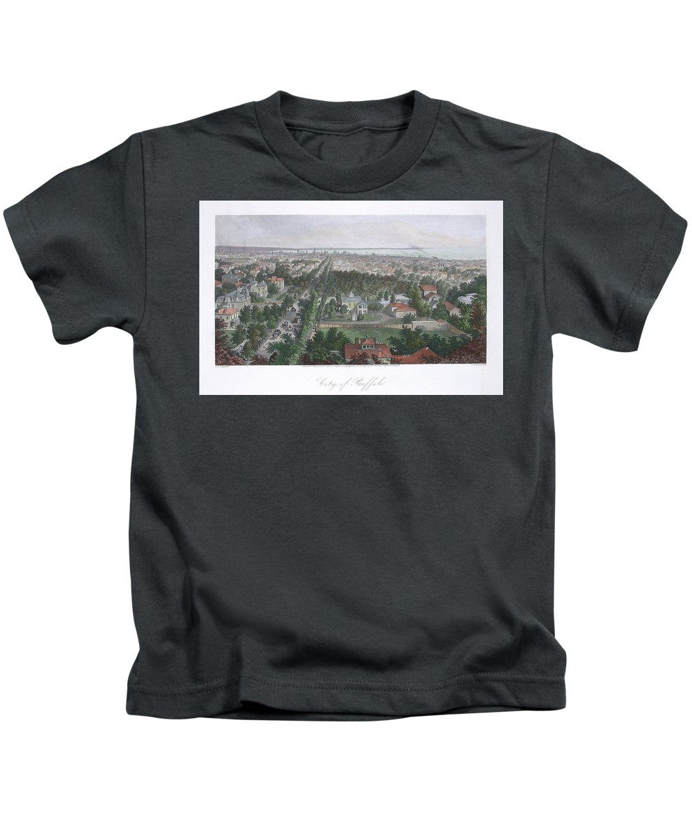 Buffalo New York Kids T-Shirt featuring the drawing Vintage Pictorial Map Of Buffalo Ny - 1872 by CartographyAssociates