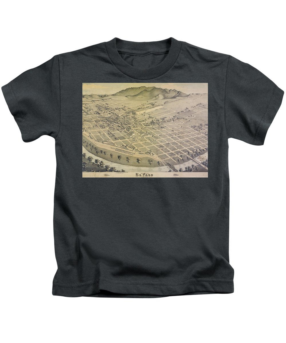 El Paso Kids T-Shirt featuring the drawing Vintage Pictorial Map Of El Paso Texas - 1886 by CartographyAssociates