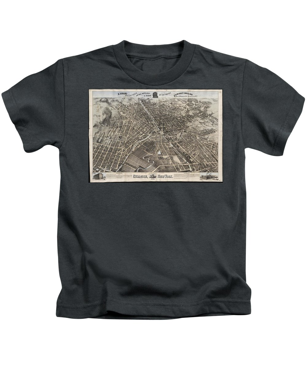 Syracuse Kids T-Shirt featuring the drawing Vintage Pictorial Map Of Syracuse New York - 1874 by CartographyAssociates