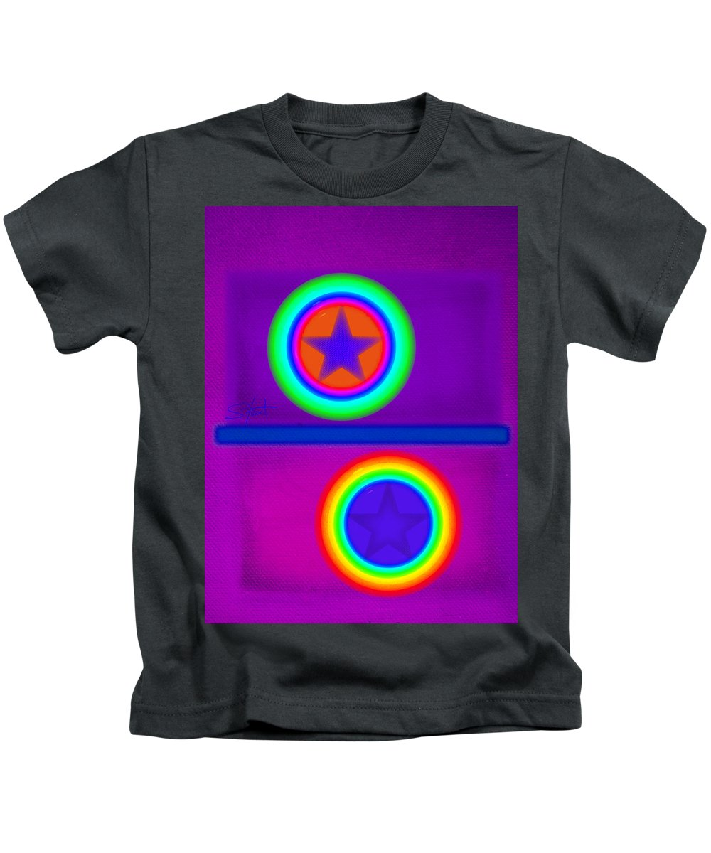 Balance Kids T-Shirt featuring the painting Violet Circus by Charles Stuart