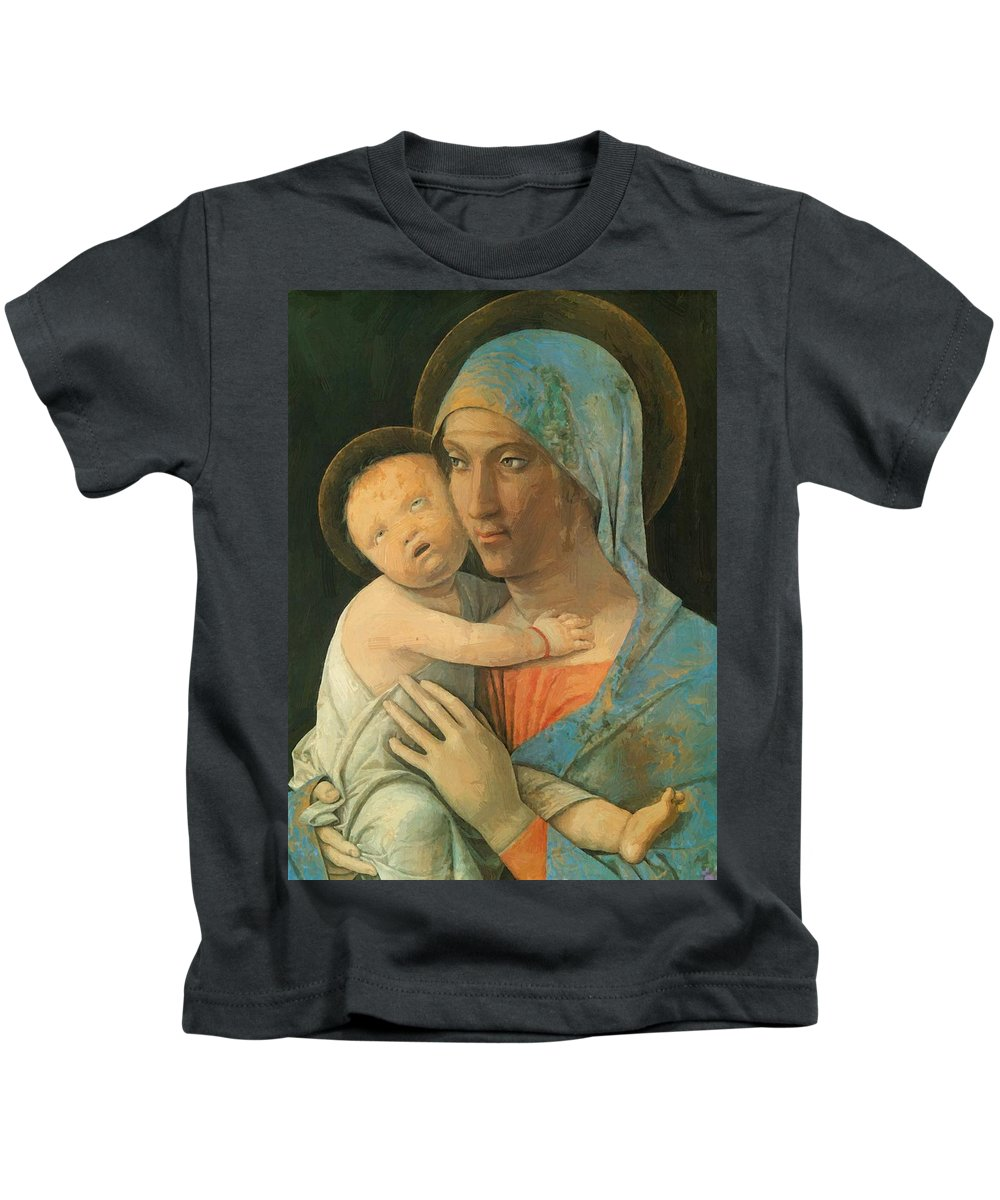 Virgin Kids T-Shirt featuring the painting Virgin And Child 1495 by Mantegna Andrea