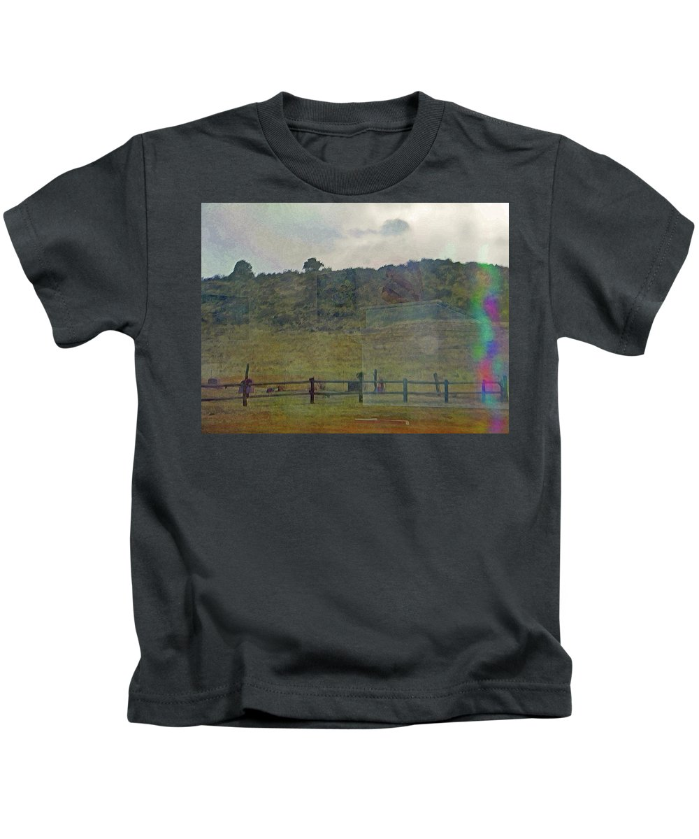 Abstract Kids T-Shirt featuring the photograph Virginia Dale-reflections On The Cemetery by Lenore Senior