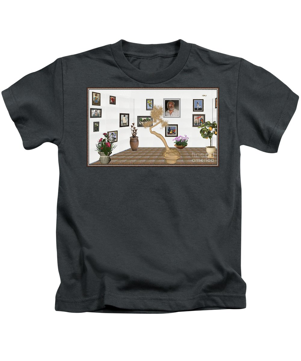 Modern Painting Kids T-Shirt featuring the mixed media Virtual Exhibition - Statue Of Bonsai 1 by Pemaro
