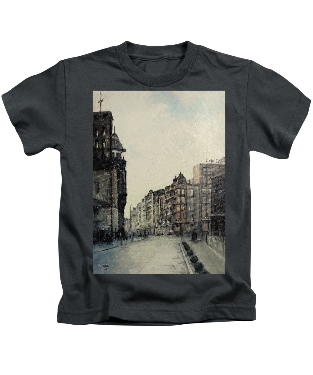 Leon Kids T-Shirt featuring the painting Vista desde calle ancha-Leon by Tomas Castano