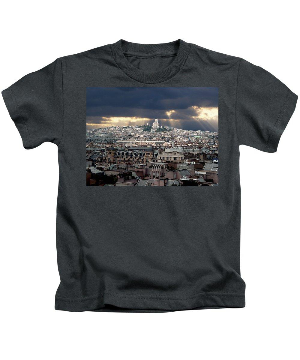 France Kids T-Shirt featuring the photograph Vue De La Butte Montmartre.roofs Of Paris by Bernard Jaubert