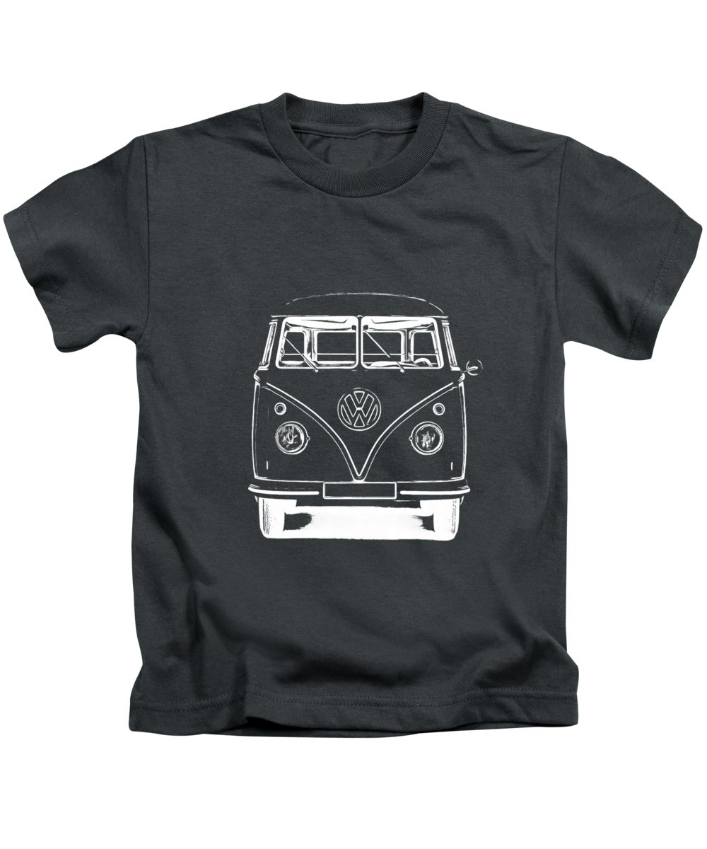 Vw Kids T-Shirt featuring the photograph Vw Van Graphic Artwork Tee White by Edward Fielding