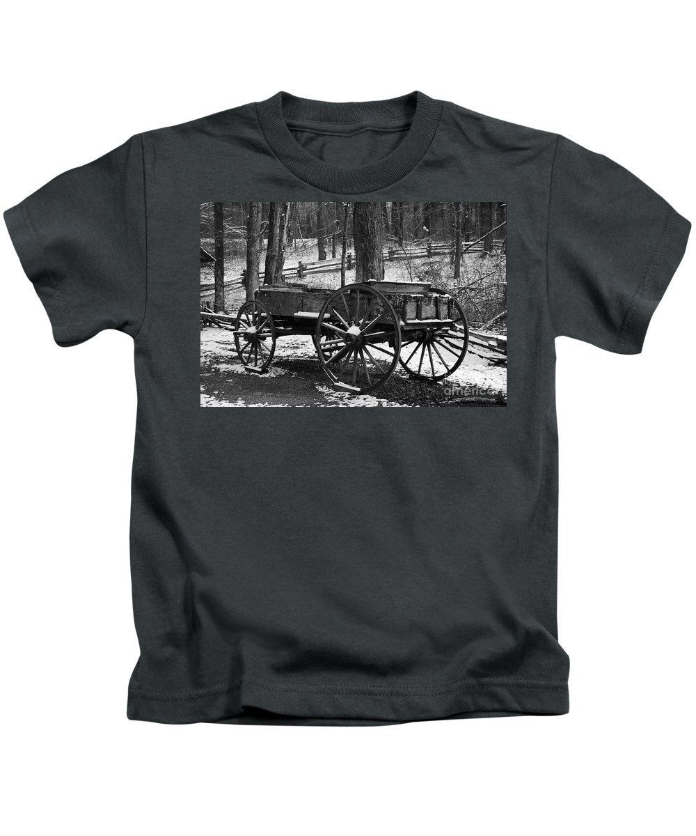 Black & White Kids T-Shirt featuring the photograph Wagon by Eric Liller