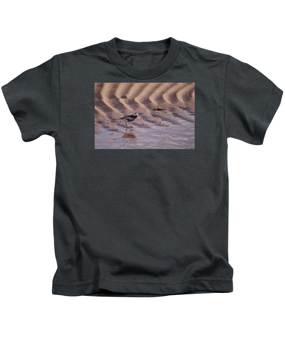 Wagtail Kids T-Shirt featuring the photograph Wagtail On West Sands by Adrian Wale