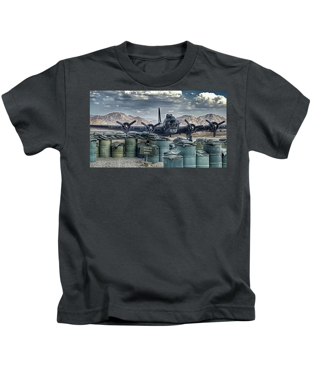 Boeing B-17g Flying Fortress Kids T-Shirt featuring the photograph Waiting For A Mission by Tommy Anderson