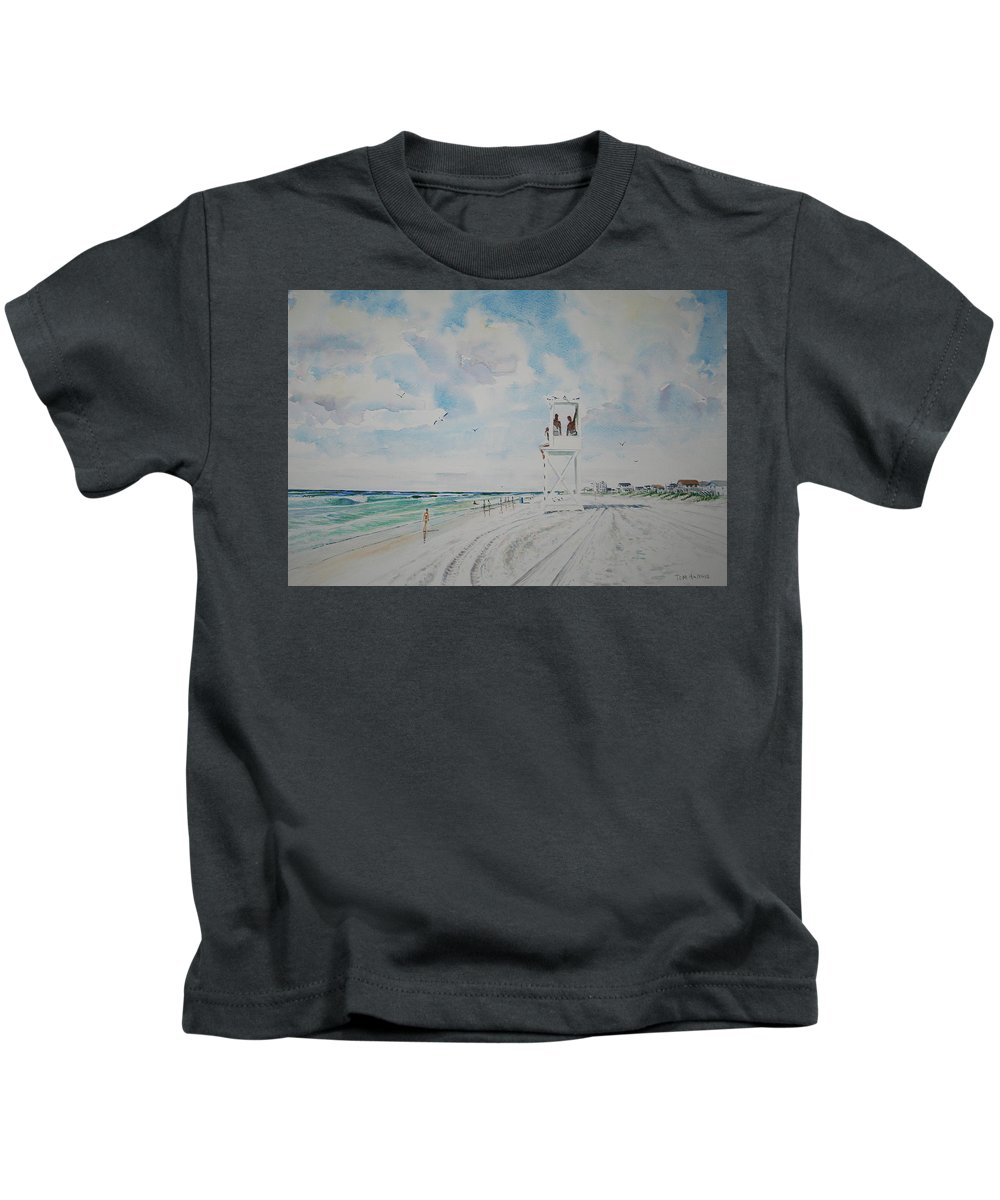 Ocean Kids T-Shirt featuring the painting Waiting For The Lifeguard by Tom Harris