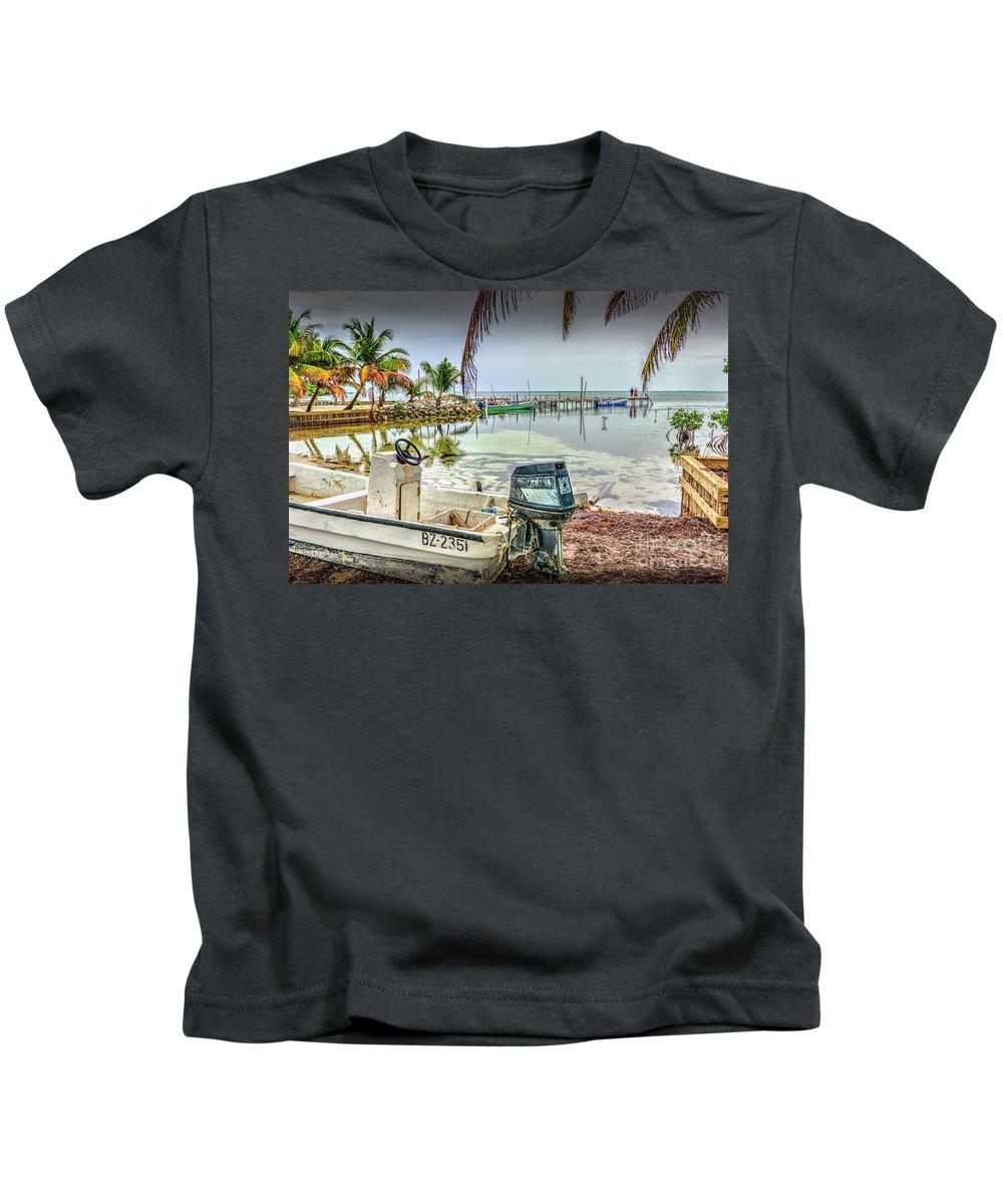 San Pedro Belize Kids T-Shirt featuring the photograph Waiting To Go by David Zanzinger