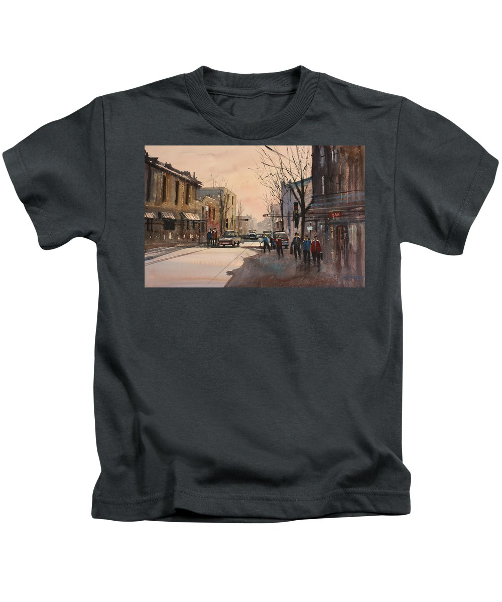 Watercolor Kids T-Shirt featuring the painting Walking In The Shadows - Fond Du Lac by Ryan Radke
