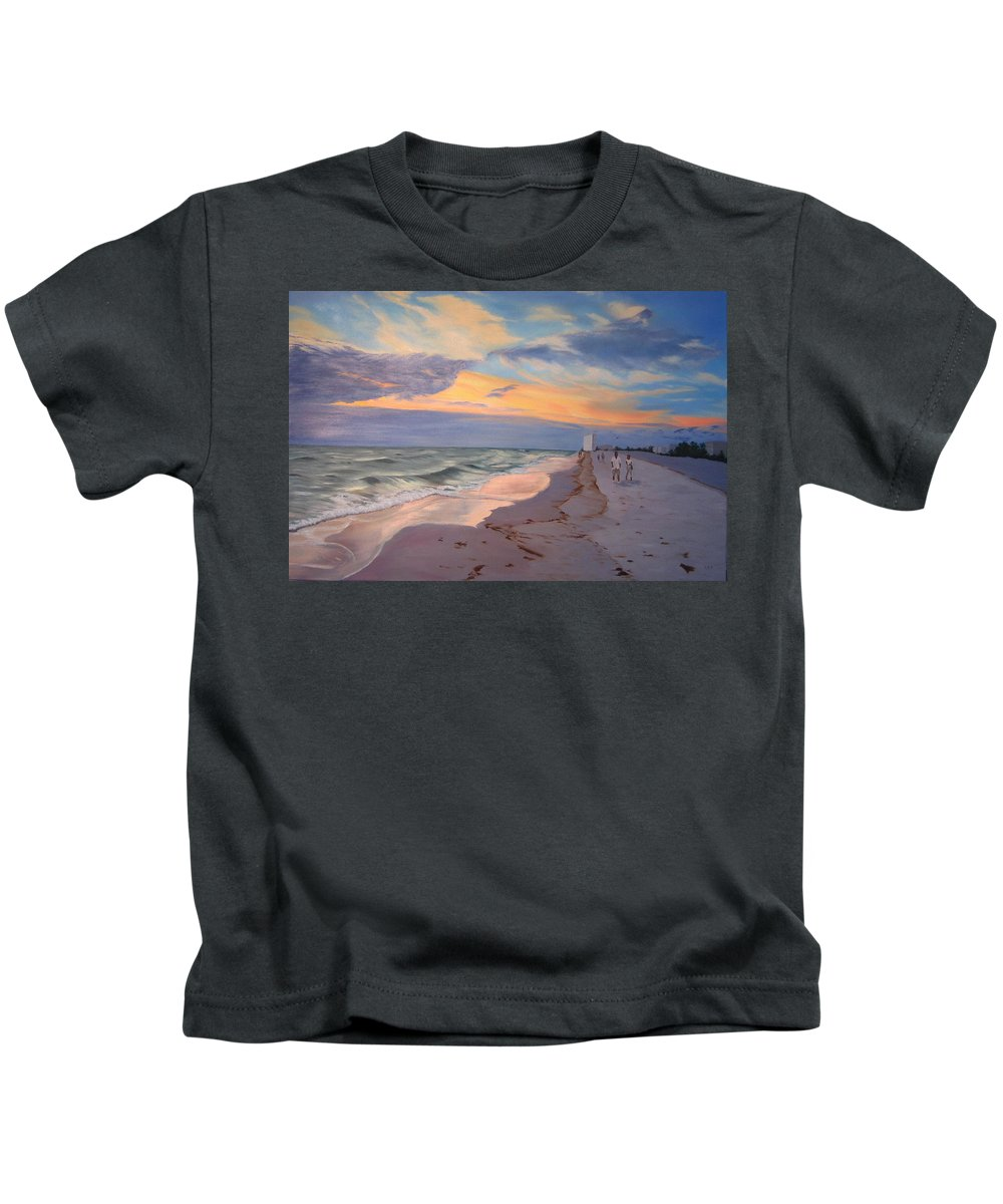 Seascape Kids T-Shirt featuring the painting Walking On The Beach At Sunset by Lea Novak
