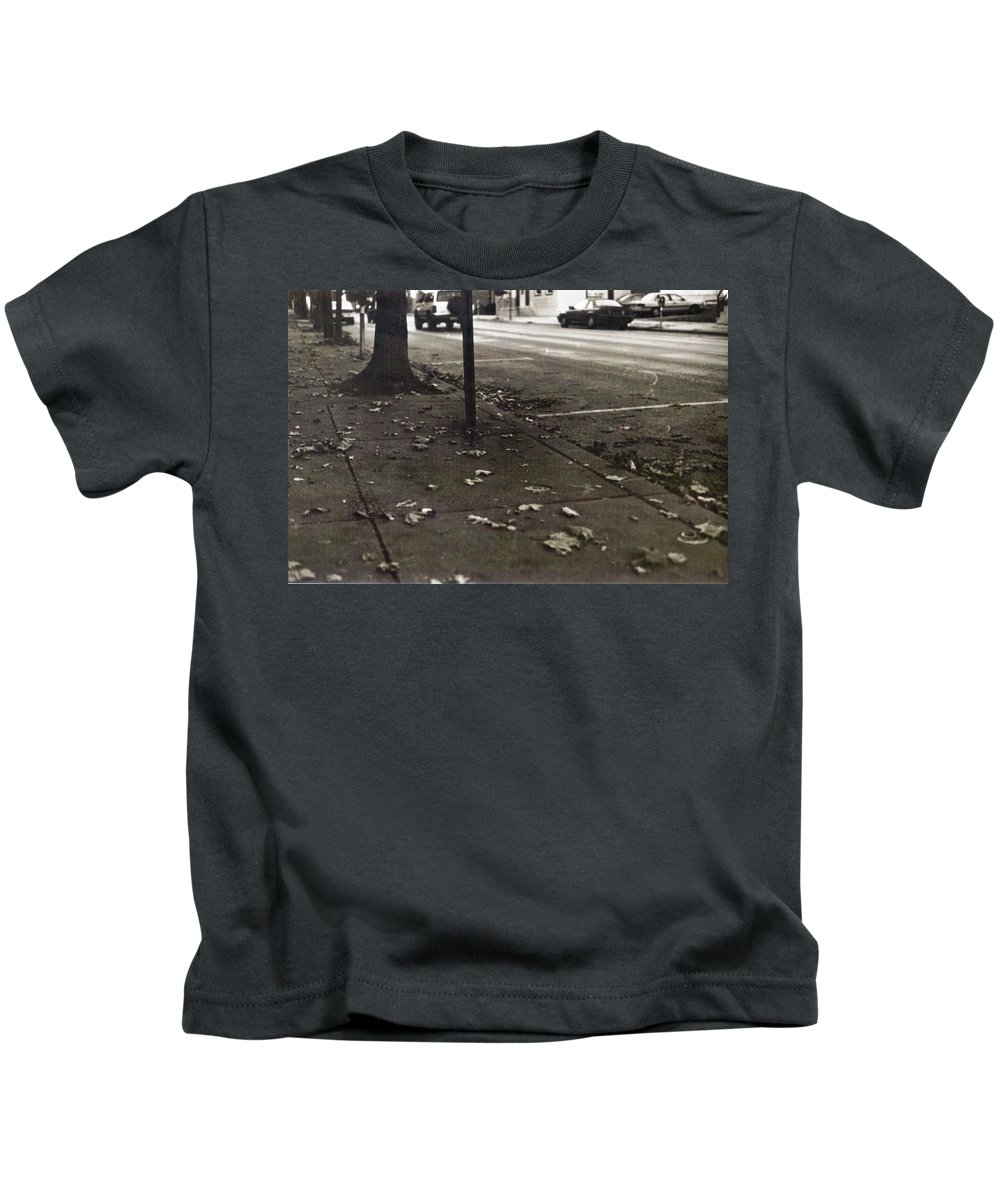 Black And White Photograph Kids T-Shirt featuring the photograph Walnut Street by Thomas Valentine
