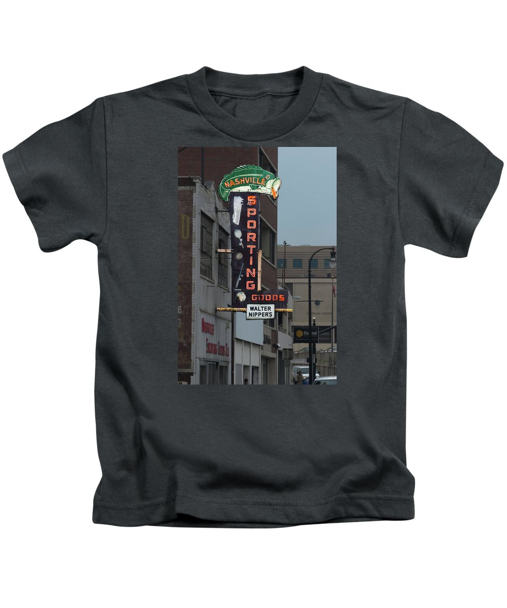 Sporting Kids T-Shirt featuring the photograph Walter Nippers Sporting Goods by Grant Groberg