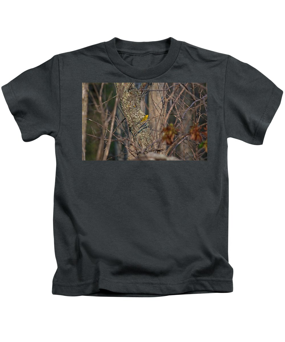 Yellow Warbler Kids T-Shirt featuring the photograph Warbler by Linda Kerkau