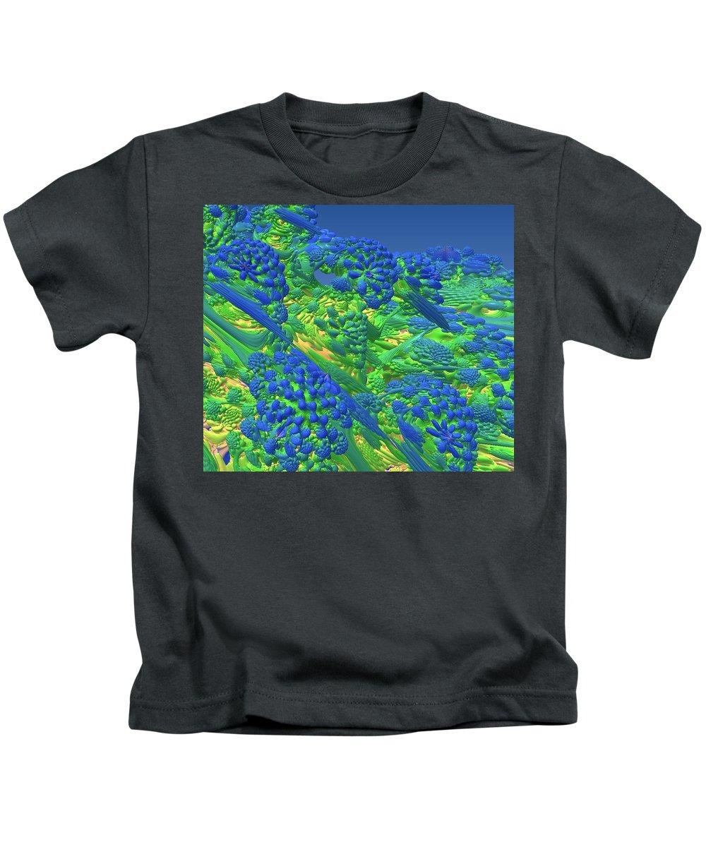 Abstract Art Kids T-Shirt featuring the digital art Warm Sea by John Welles