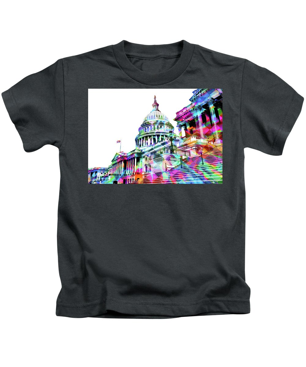 Capitol Kids T-Shirt featuring the painting Washington Capitol Color 1 by Tony Rubino