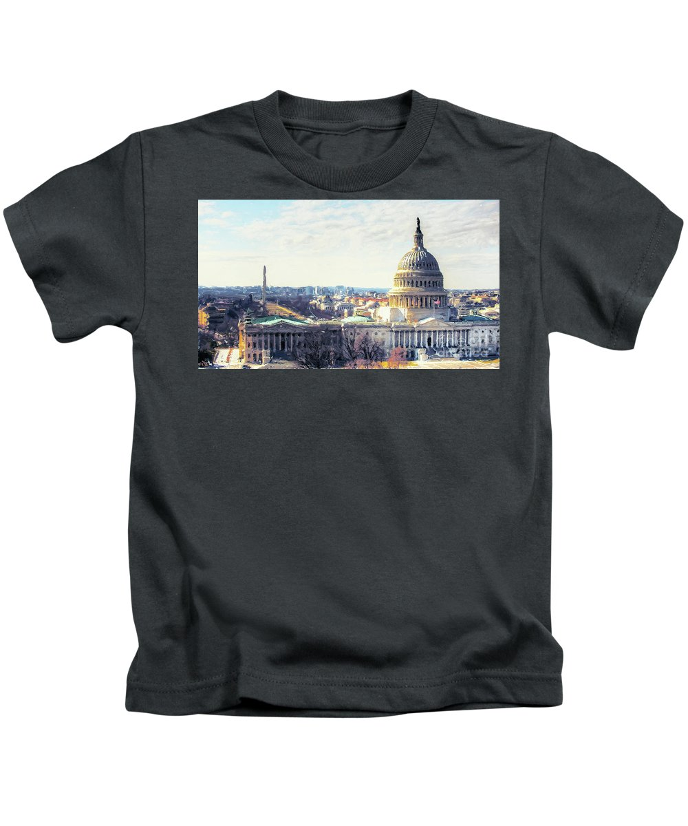 American Kids T-Shirt featuring the painting Washington Dc Building 9i8 by Gull G