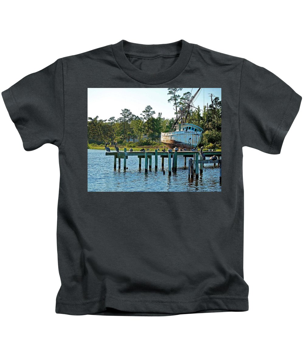 Shrimp Boat Kids T-Shirt featuring the painting Watching Morning Star by Michael Thomas