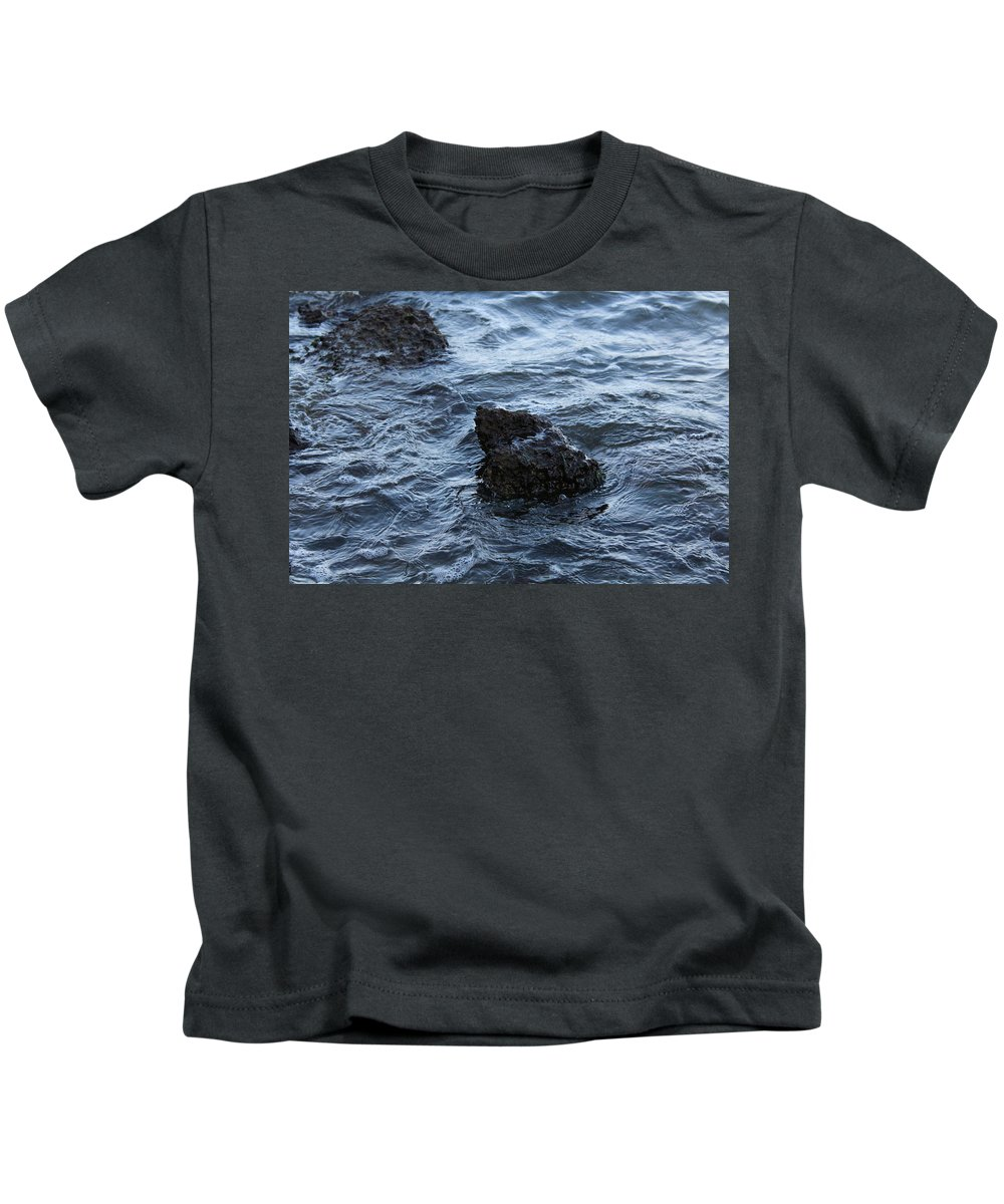 Water Kids T-Shirt featuring the photograph Water And A Rock by Hunter Kotlinski