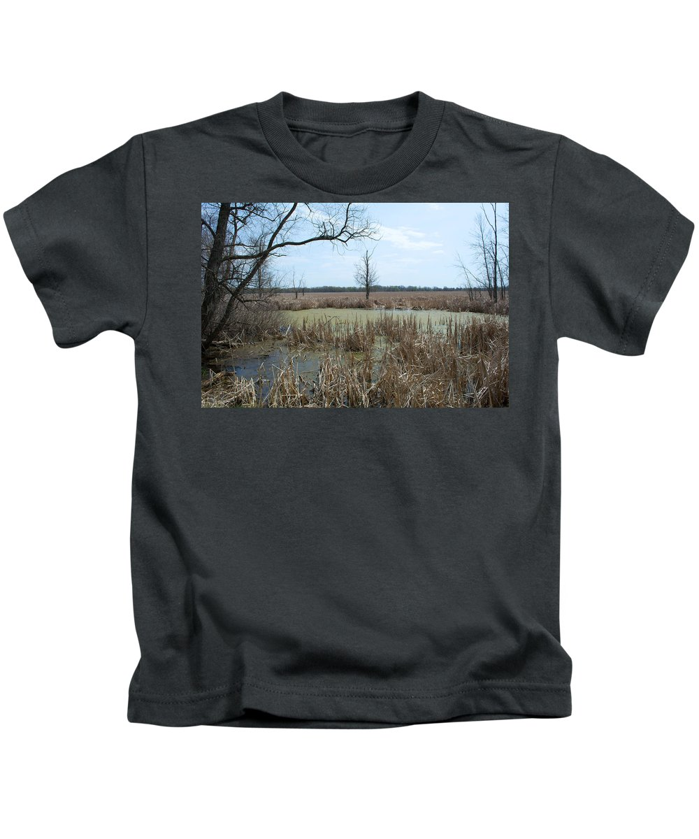 Wetland Kids T-Shirt featuring the photograph Water And Cattails by Linda Kerkau