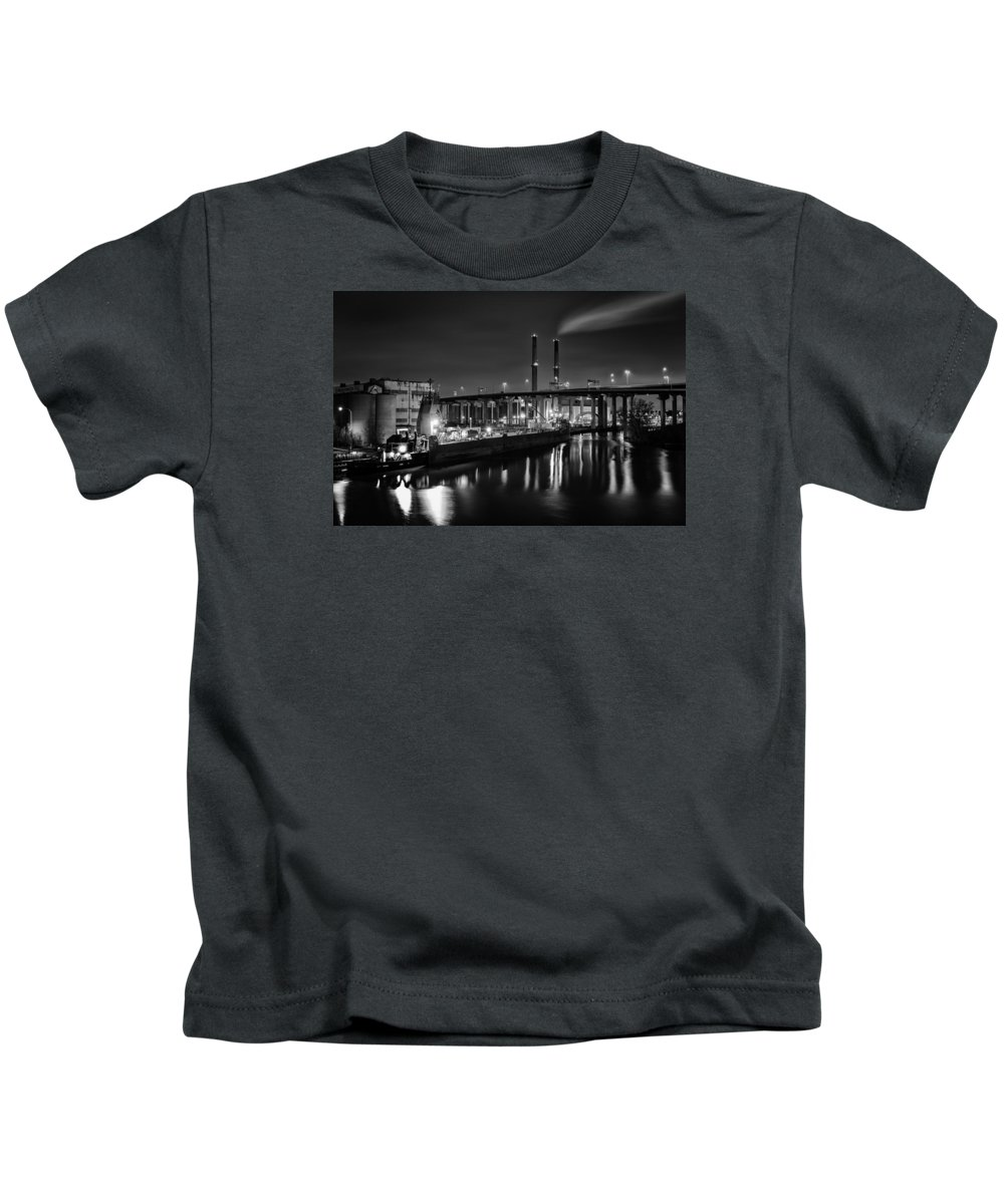 Www.cjschmit.com Kids T-Shirt featuring the photograph Water And Cement by CJ Schmit