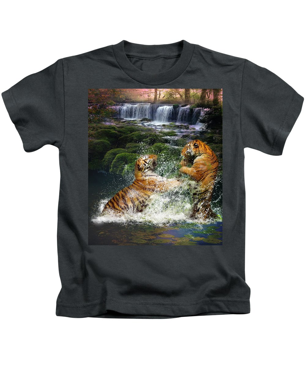 Water Fight Kids T-Shirt featuring the photograph Water Fight by Dave Godden