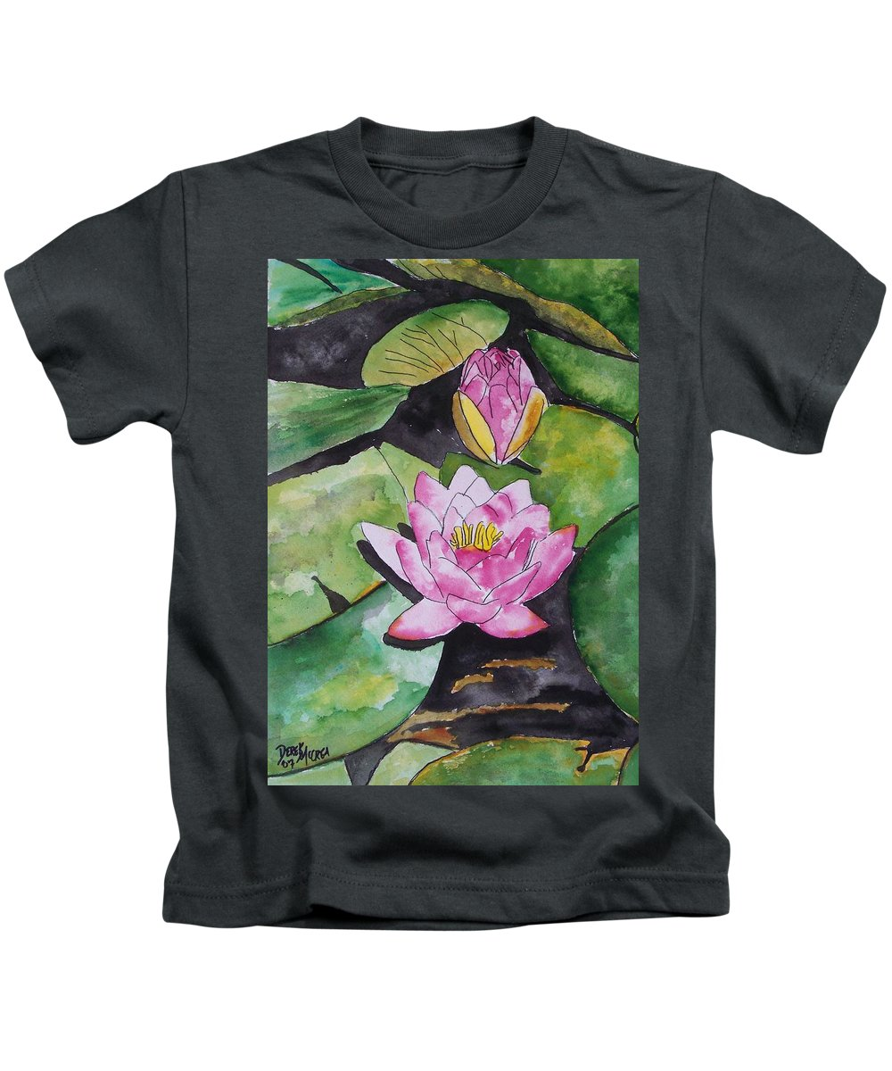 Water Lily Kids T-Shirt featuring the painting Water Lily by Derek Mccrea