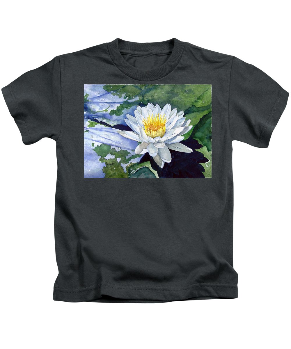 Flower Kids T-Shirt featuring the painting Water Lily by Sam Sidders