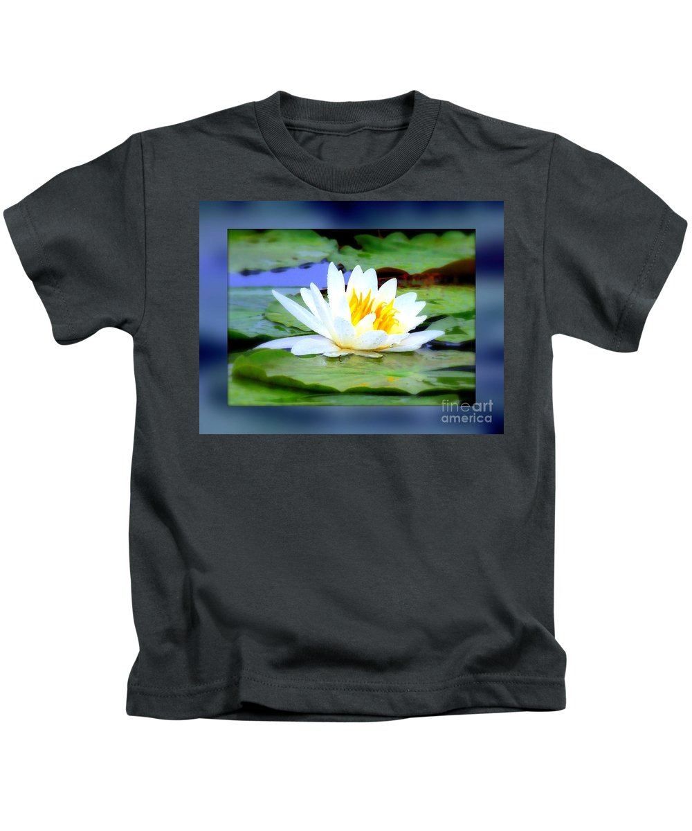Lily Kids T-Shirt featuring the photograph Water Lily With Blue Border - Digital Painting by Carol Groenen