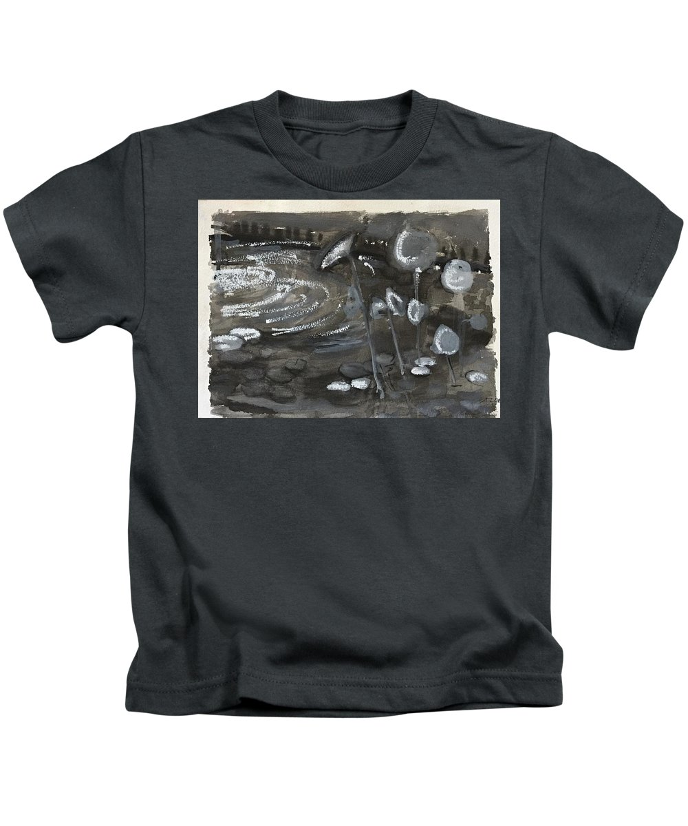 Kids T-Shirt featuring the drawing Water Plants by Alejandro Lopez-Tasso