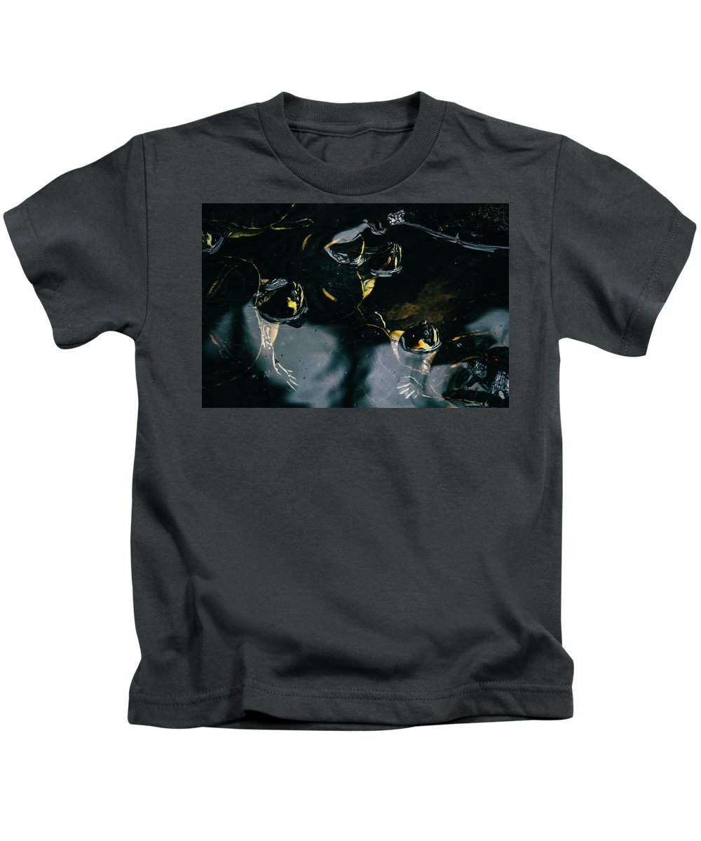 Dark Kids T-Shirt featuring the photograph Water Turtles by Pati Photography