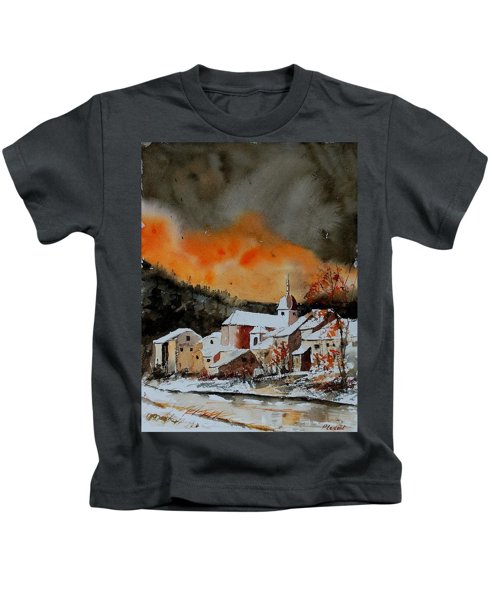 Winter Kids T-Shirt featuring the painting Watercolor 050707 by Pol Ledent