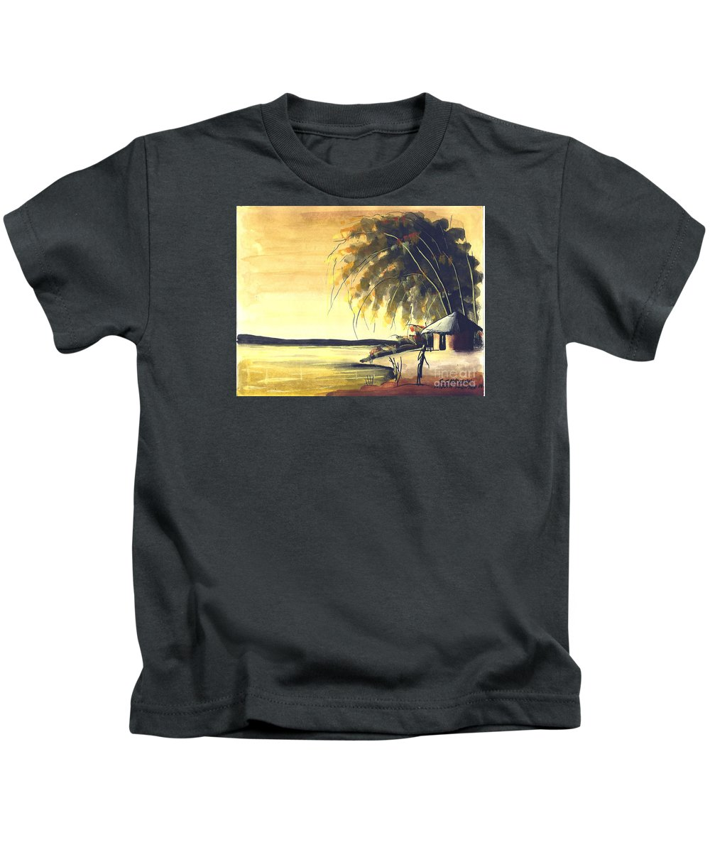 Africa Kids T-Shirt featuring the painting Watercolor 85 by Chrisfold Chayera