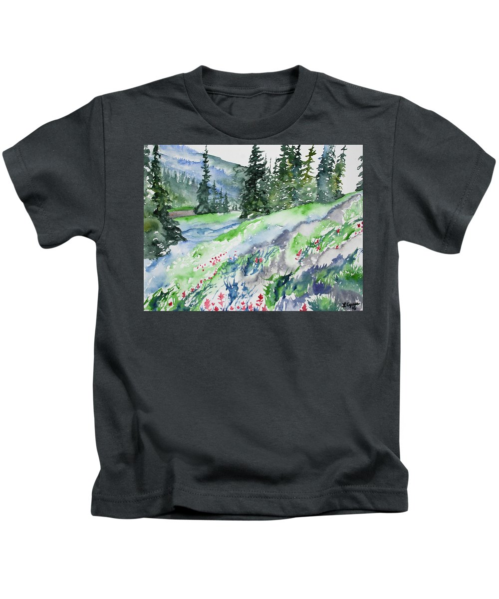 Indian Paintbrush Kids T-Shirt featuring the painting Watercolor - Mountain Pines And Indian Paintbrush by Cascade Colors