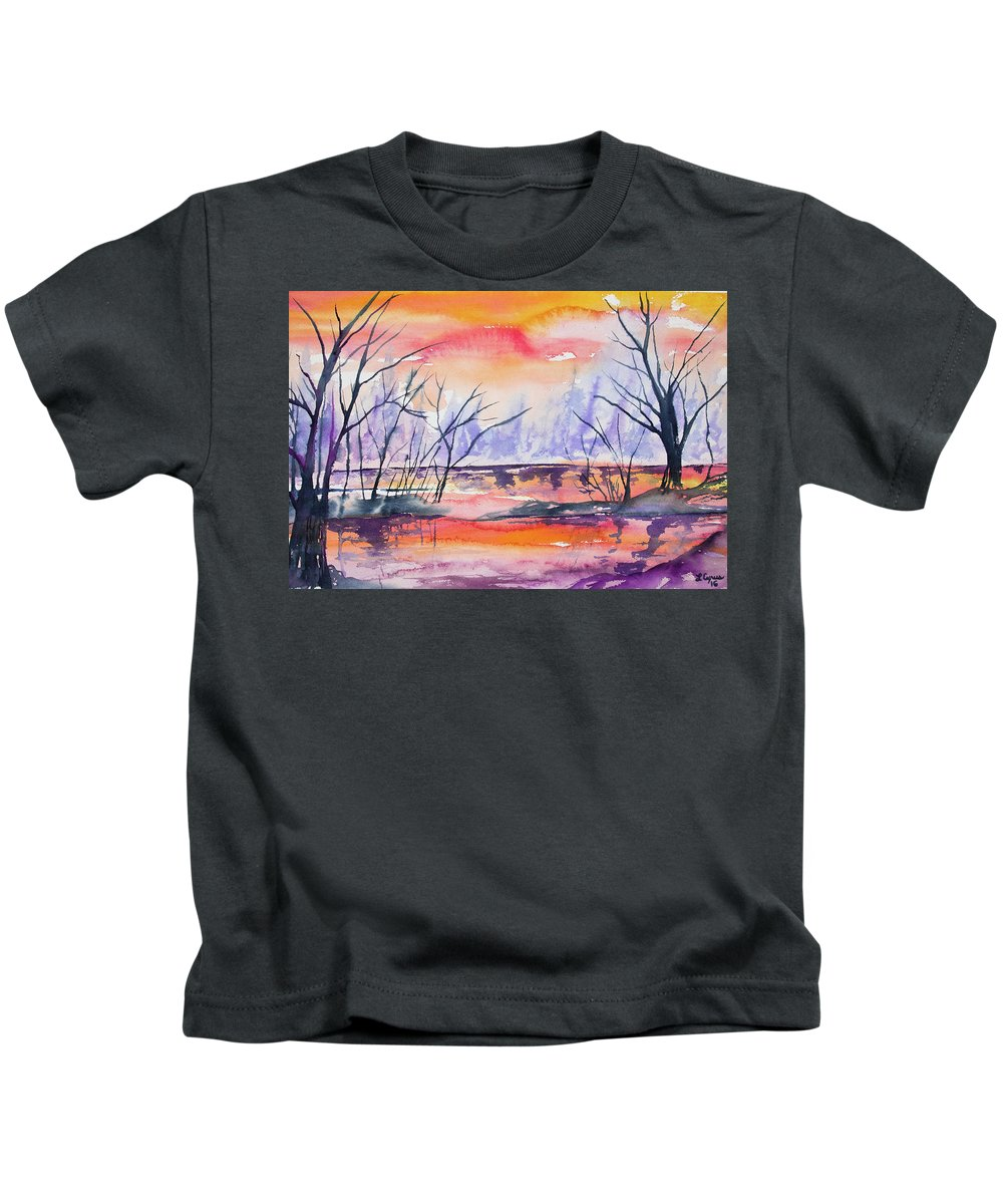 Pond Kids T-Shirt featuring the painting Watercolor - Sunrise At The Pond by Cascade Colors