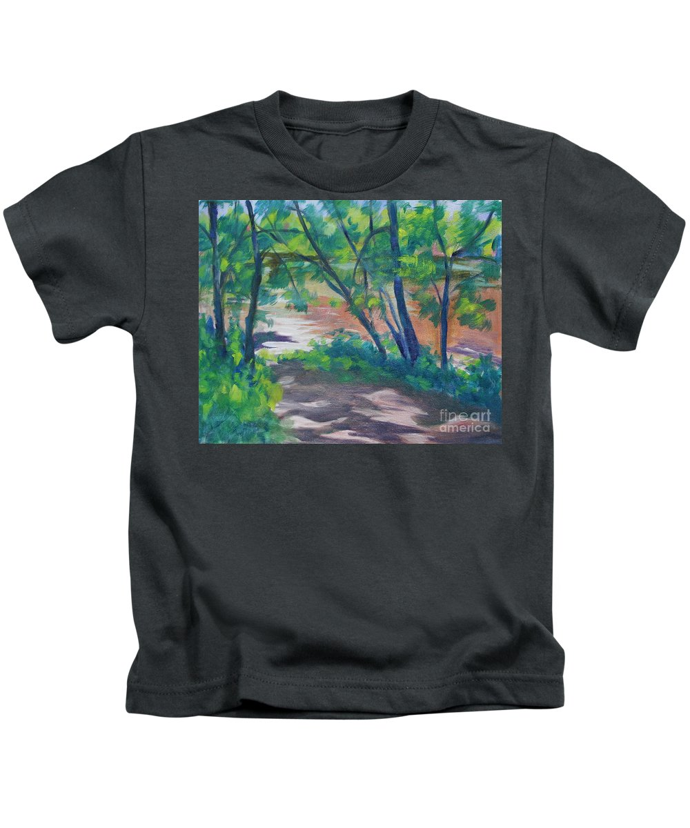 Landscape Kids T-Shirt featuring the painting Watercress Beach On The Current River  by Jan Bennicoff