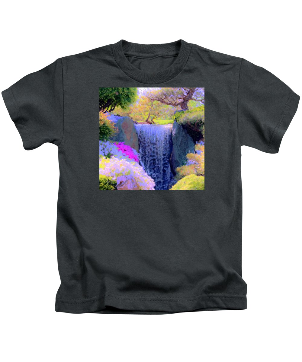 Tree Kids T-Shirt featuring the painting Waterfall Spring Colors by Susanna Katherine